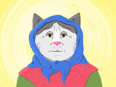 Babushka Cat Illustration vector illustration