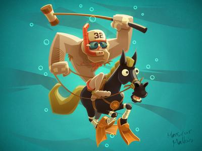 WATER POLO monsieur maltais character cartoon horse waterpolo polo water vector illustrator