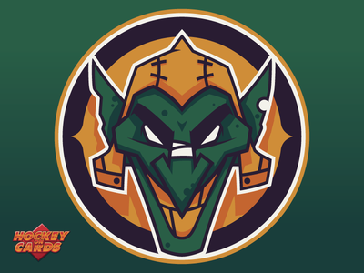 Tétraultville Snot Goblins Logo illustrator hockey on cards goblin logo hockey logo snot goblins