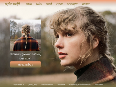 Taylor Swift Web redesign concept redesigned redesign swift folklore website design web design webdesign website web album cover album artwork album art album taylor evermore taylor swift typography figma design