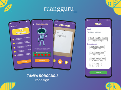 Roboguru Redesign - Ruangguru App galaxy samsung android ux ui redesign sigil sigils gradient card vector flat typography figma design