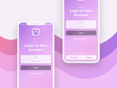 Mobile Login Screen gradients colors uiux iphone ios apple mobiledesign app mockup ux mobile ui