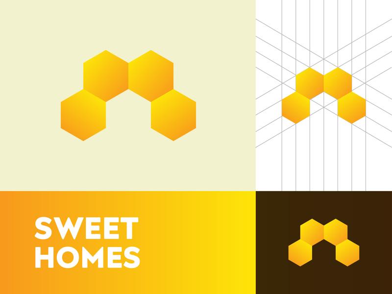 Sweet Homes Logo timeless identity bold sweet honey home negative space logo minimalist logo creative logo branding brand identity minimalist modern logo logodesign