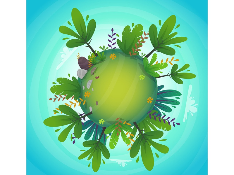 ecology green planet earth concept cartoon style clouds sky circle round enviroment landscape panorama fisheye cartoon concept earth planet trees nature peace green ecology eco vector illustration