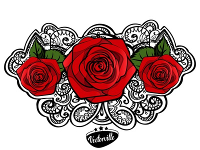 3 red roses doodle tattoo art
