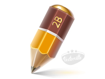 Cartoon pencil orange brown icon