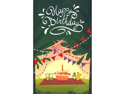 happy birthday cake tree decor