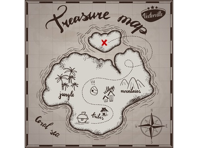 treasure map an a paper