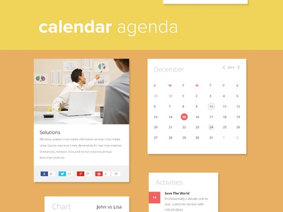 Business UI KIT (Free PSD) ui ux flat ui business free freebie free psd navigation calendar