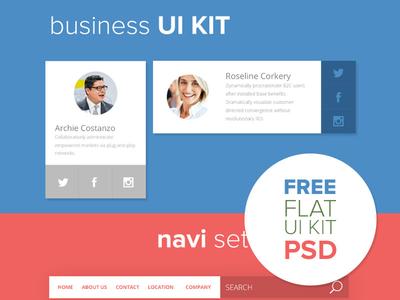 Business UI KIT (Free PSD) ui ux flat ui business free freebie free psd navigation calendar