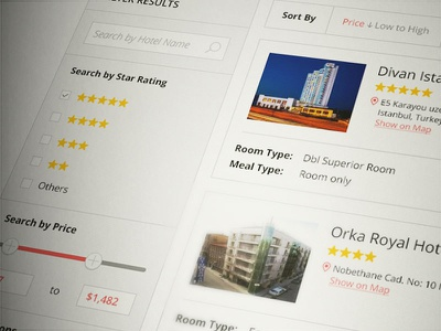 Result Page Concept  hotel otel list filter concept price flat