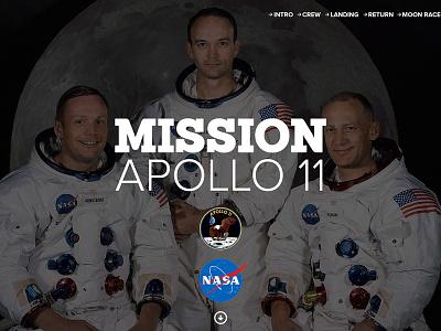 Mission Apollo 11 Concept Design apollo ui flat nasa space content moon