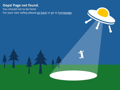 Page Not Found! 404 page not found ufo illustration forest abduction