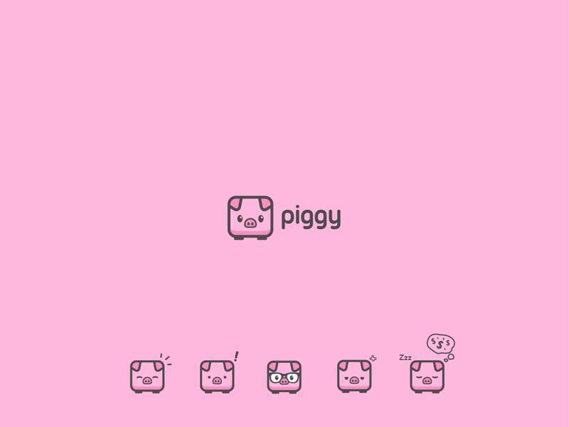 PIGGY ux app icon minimal vector typography branding logo illustration design