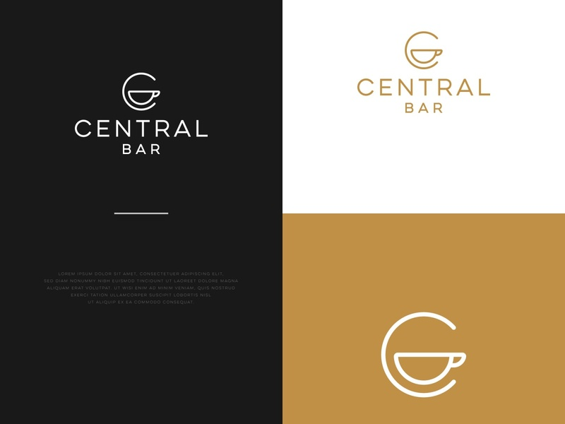CENTRAL BAR C LOGO typography minimal illustration branding logo design
