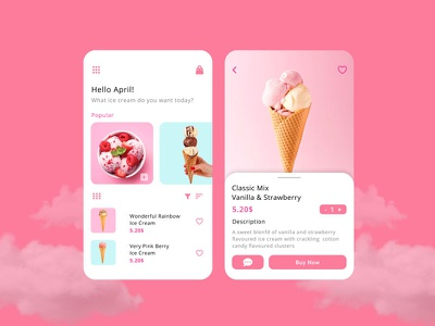 Ice Cream Mobile App Design