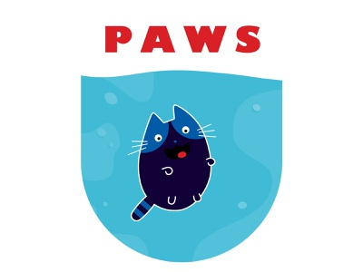 PAWS funny illustration cute art creative bold colors blue happy positive lively beautiful sweet design illustration lovely fun hilarious poster jaws cute cat funny