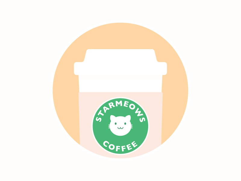 Starmeows Coffee beautiful brown sweet pastel creative funny sticker positive happy kawaii lovely simple cute illustration design logo cafe cat coffee starbucks