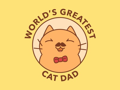 World's Greatest Cat Dad bowtie fathersday father lively creative beautiful logo character design illustration positive happy fun funny clean sweet lovely cute cat dad cat