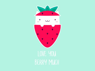Strawberry Cat positive lovely logo lively happy funny signs funny sticker clean beautiful creative design illustration cuteness cutie love berry strawberry cat cute