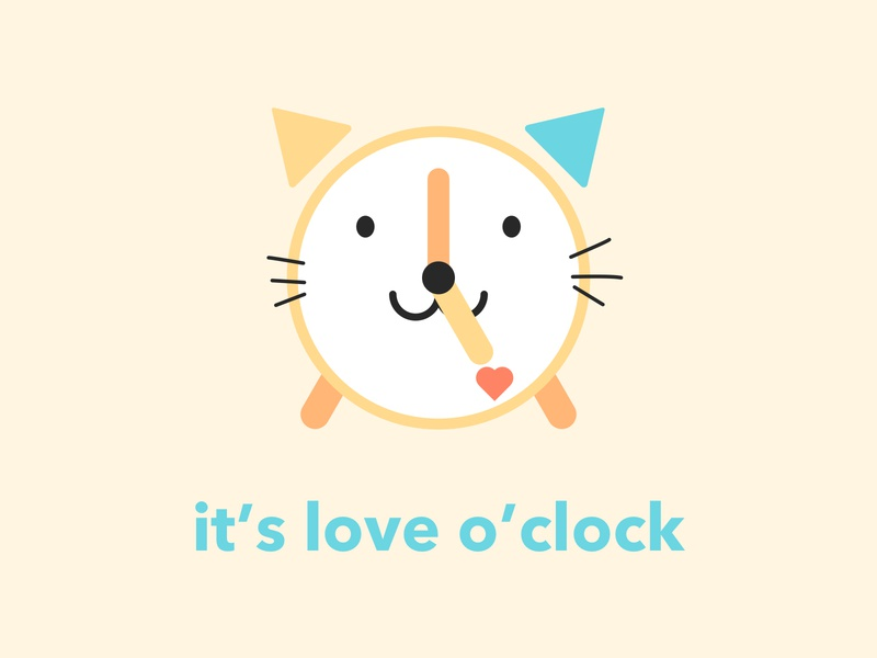 It's Love O'Clock clock sweet positive logo beautiful logo colorful lively illustration love happy funny signs funny fun design cute creative clean cat clock beautiful cat