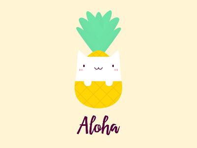 Cute Pineapple Cat T-Shirt playful joyful joy amazing yellow beautiful good vibes summer funny aloha cat t shirt design positive lovely kawaii happy pineapple cat cute illustration