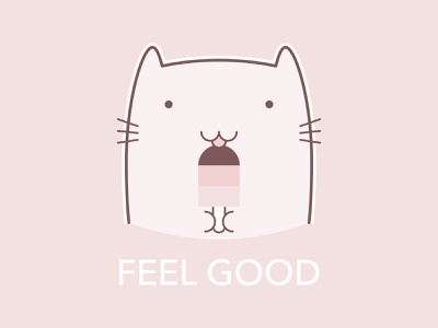 Cat with Ice Cream T-Shirt kawaii positive lovely good vibes feel good ice cream funny happy pastel design t-shirt illustration cat cute