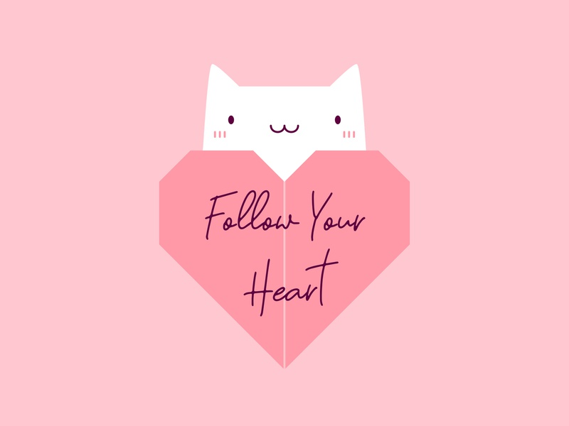 Follow Your Heart Origami Cat T-Shirt creative funny happy slogan good vibes pink design lovely illustration kawaii art cute positive cat love heart origami