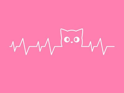 Heart Beat lovely cute art purr positive design logo illustration cute cat soundwave wave sound heartbeat heart beat