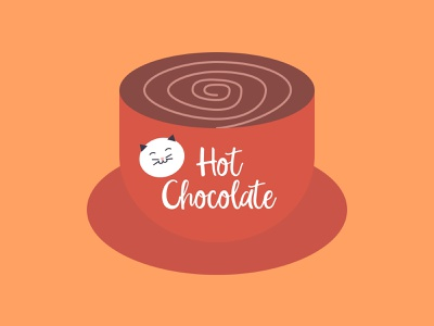 Hot Chocolate Cat design illustration cat good vibes smiling cat fall colors creative cute positive beautiful lovely warm colors warm autumn cup hot chocolate fall cozy