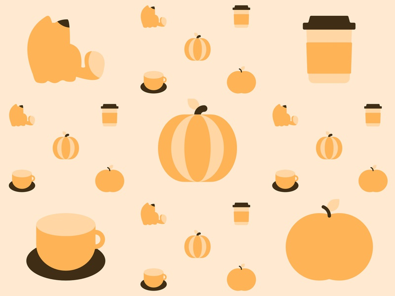 Fall Pattern happy positive minimal simple shades design art warm bright cute illustration creative lovely cozy pattern autumn fall cat