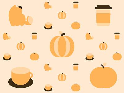 Fall Pattern happy positive minimal simple shades design art warm bright cute illustration creative lovely cozy pattern autumn fall cat