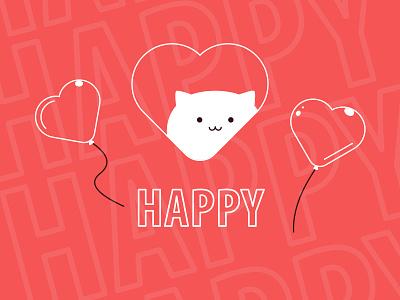 Happy Cat Greeting Card good energy mood booster good vibes beautiful positive lineart line art funny hearts art cute cat illustration kawaii lovely design greetingcard greeting card joy happy