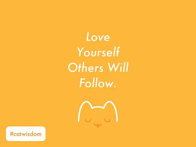 Cat Love Quote love smiley face simple beautiful creative wisdom cat t shirt orange happy good vibes positive cat cute illustration design quote