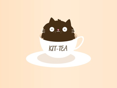 KIT-TEA CAT T-Shirt cozy character warm summer feeling browns brown creative beautiful simple cup of coffee cup of tea i like cats very much funny happy design positive lovely illustration cat cute