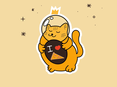 Space Cat good feelings happy friday funny lovely cute cat t shirt pizza illustration character artwork art space cat