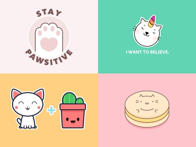 Cat Art Year in Review 🎉 Top 4 on Dribbble positive illustration cat t-shirt happy cute cat art