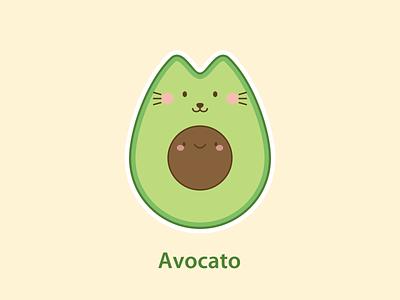 Cat Art Avocato happy positive lovely original sweet creative funny signs kawaii cat t-shirt funny cat pun cute illustration avocado cat