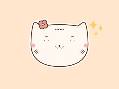 Cute Cat Sparkles Emoji kawaii beautiful funny creative cute art illustration positive lovely happy cute illustrations sparkles emoji cat