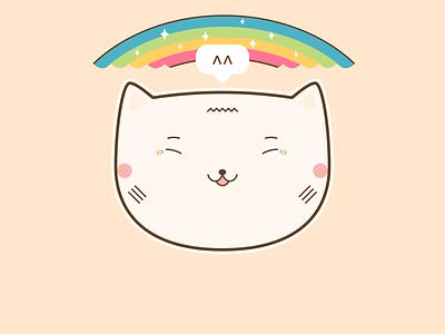 Cat Sticker Tears of Joy Happiness cute art beautiful lovely funny positive happy kawaii cute illustration cat