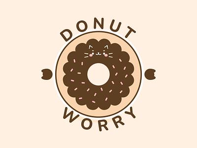 Cat Donut Worry 🍩 design kawaii art cute art art cat shirt cat t shirt positive cute kawaii food pun cat pun donut illustration cat