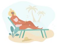 Girl lies on beach
