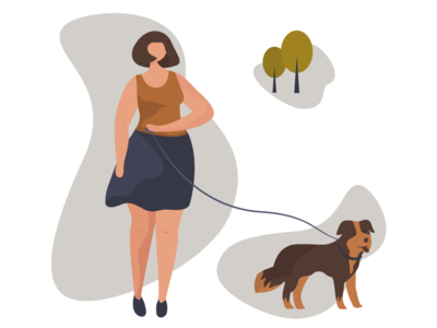 Girl is walking with dog
