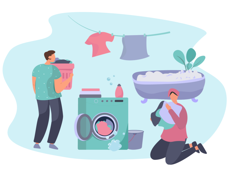 Wash Clothes in the Washing Machine washing clothes washing machine webdesign flat vector illustration illustration