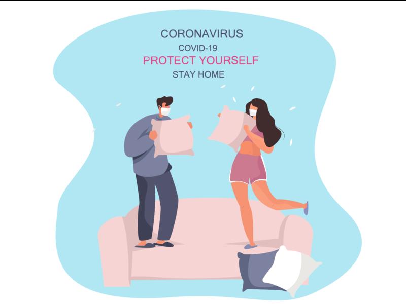 Pillow Fight During Quarantine fun family quarantine pillow fight pillow illustration vector illustration