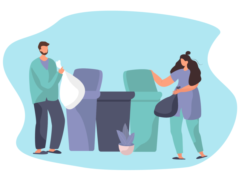 Throw Garbage and Sorting Waste into Tanks sorting waste throw garbage tanks design flat webdesign illustration vector illustration