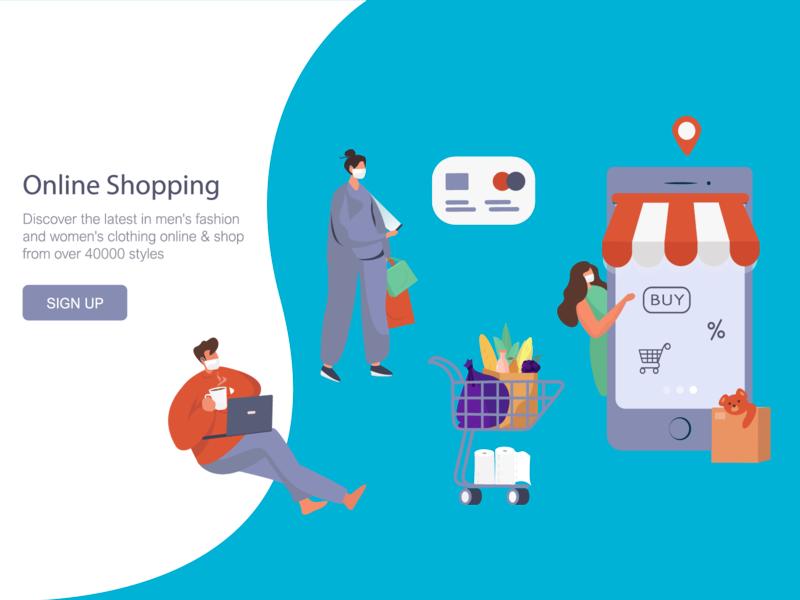 Online Shopping Coronavirus Epidemic online shopping coronavirus design flat webdesign vector illustration illustration