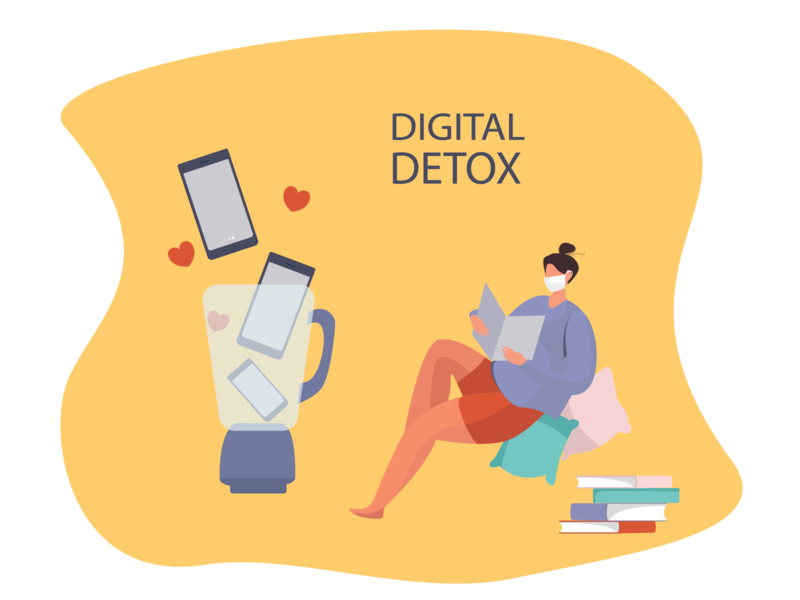 Girl Threw Out the Phone and Reads the Newspaper digital detox illustration vector illustration