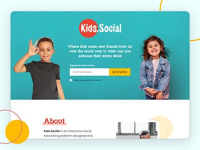 Social Website for Kids mobileappdesign websitedesign app socialuidesign uiuxdesign kidslandingpagedesign landingpage design