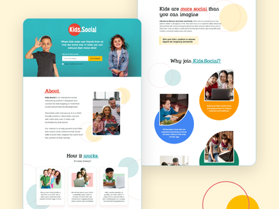 Kids Social Platform uiuxdesign ui socialuidesign minimal landing page website design cleanuidesign landingpage kids website ui children websites